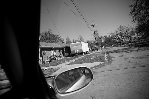 The neighborhood known as Lakeview, which borders directly  on Lake Pontchartrain, was devastated by Hurricane Katrina and the storm surge which broke the levee on the 17th Street Canal which runs through the neighborhood. 6 months later, little has changed and the area lies mostly abandoned.. A FEMA supplied trailer stands outside a home in the area.