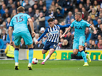 Brighton & Hove Albion's Aaron Connolly (left) scores his side's first goal despite the attentions of Tottenham Hotspur's Toby Alderweireld (right) <br /> <br /> Photographer David Horton/CameraSport<br /> <br /> The Premier League - Brighton and Hove Albion v Tottenham Hotspur - Saturday 5th October 2019 - The Amex Stadium - Brighton<br /> <br /> World Copyright © 2019 CameraSport. All rights reserved. 43 Linden Ave. Countesthorpe. Leicester. England. LE8 5PG - Tel: +44 (0) 116 277 4147 - admin@camerasport.com - www.camerasport.com