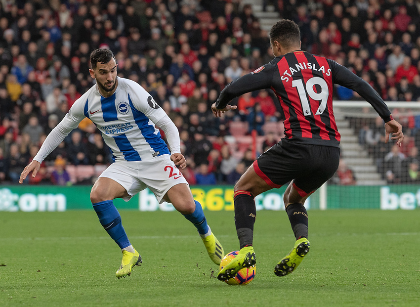 Bournemouth's Junior Stanislas (right)  under pressure from Brighton & Hove Albion's Martin Montoya (left) <br /> <br /> Photographer David Horton/CameraSport<br /> <br /> The Premier League - Bournemouth v Brighton and Hove Albion - Saturday 22nd December 2018 - Vitality Stadium - Bournemouth<br /> <br /> World Copyright © 2018 CameraSport. All rights reserved. 43 Linden Ave. Countesthorpe. Leicester. England. LE8 5PG - Tel: +44 (0) 116 277 4147 - admin@camerasport.com - www.camerasport.com