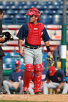 Washington Nationals minor league catcher Sandy Leon during a game vs. the Chinese National Team in an Instructional League game at Holman Stadium in Vero Beach, Florida September 30, 2010.   Photo By Mike Janes/Four Seam Images