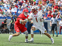 Annapolis, MD - May 20, 2018: Maryland Terrapins Connor Kelly (1) holds off a Cornell Big Red defender during the quarterfinal game between Maryland vs Cornell at  Navy-Marine Corps Memorial Stadium in Annapolis, MD.   (Photo by Elliott Brown/Media Images International)