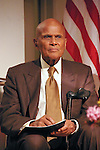Harry Belafonte sits on stage, at the John Jay Justice Award ceremony, April 5 2011.