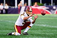 August 9, 2018: Washington Redskins punter Tress Way (5) warms up prior to the NFL pre-season football game between the Washington Redskins and the New England Patriots at Gillette Stadium, in Foxborough, Massachusetts.The Patriots defeat the Redskins 26-17. Eric Canha/CSM