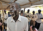 Worship in the United Methodist Church in the Southern Sudan village of Yondoru. Families here are rebuilding their lives after returning from refuge in Uganda in 2006 following the 2005 Comprehensive Peace Agreement between the north and south. NOTE: In July 2011, Southern Sudan became the independent country of South Sudan