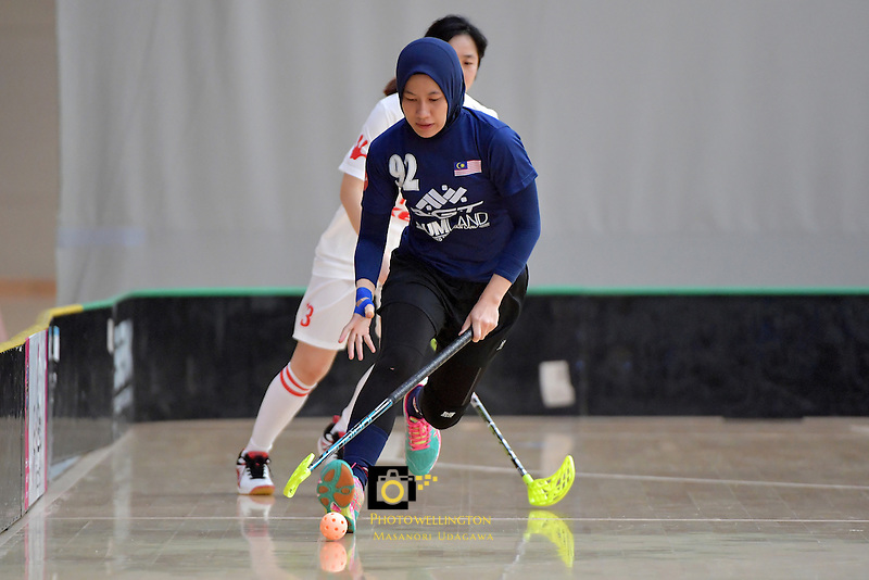 Malaysia's Fathih Hansi Binti Che Husain in action during the World Floorball Championships 2017 Qualification for Asia Oceania Region - Malaysia v China at ASB Sports Centre , Wellington, New Zealand on Sunday 5 February 2017.<br /> Photo by Masanori Udagawa<br /> www.photowellington.photoshelter.com.