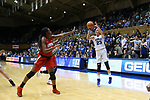 DURHAM, NC - NOVEMBER 30: Duke's Rebecca Greenwell (23) shoots over Ohio State's Stephanie Mavunga (1). The Duke University Blue Devils hosted the Ohio State Buckeyes on November 30, 2017 at Cameron Indoor Stadium in Durham, NC in a Division I women's college basketball game, and as part of the annual ACC-Big Ten Challenge. Duke won the game 69-60.