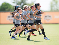 Houston, TX - October 7, 2016: The Washington Spirit and Western New York Flash train in preparation for the NWSL Championship match at BBVA Compass Stadium.