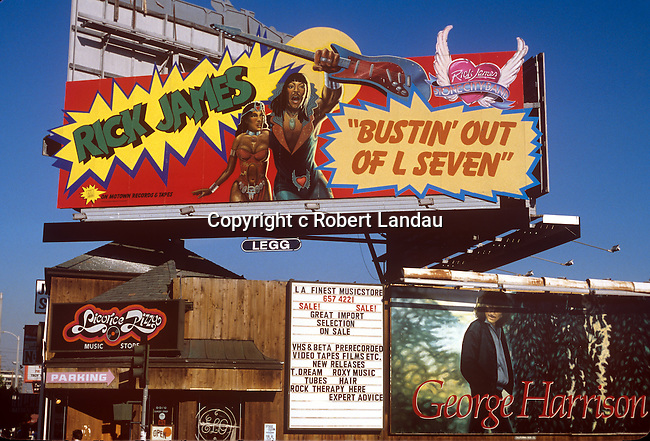 Rick James, Buastin Out of L7, billboard on the Sunset Strip over Licorice Pizza Record Store circa 1979