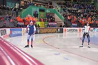 SPEEDSKATING: HAMAR: Vikingskipet, 28-02-2020, ISU World Speed Skating Championships, Sprint, 500m Men, Pavel Kulizhnikov (RUS), Min Kyu Cha (KOR), ©photo Martin de Jong