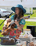 Volunteer musician, Marji Zintz, performing at the Saugerties Farmer's Market on Main Street in the Village of Saugerties, NY, on Saturday, June 10, 2017. Photo by Jim Peppler. Copyright/Jim Peppler-2017.