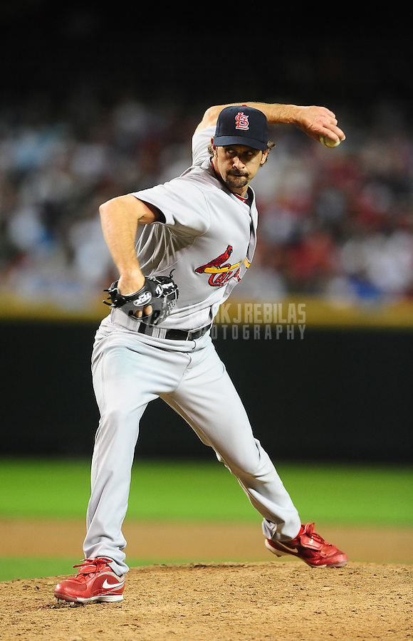 Apr. 19, 2010; Phoenix, AZ, USA; St. Louis Cardinals pitcher Trever Miller against the Arizona Diamondbacks at Chase Field. The Cardinals defeated the Diamondbacks 4-2. Mandatory Credit: Mark J. Rebilas-