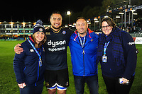 Leroy Houston poses for a photo after the match with Bath Rugby staff. European Rugby Challenge Cup match, between Bath Rugby and Bristol Rugby on October 20, 2016 at the Recreation Ground in Bath, England. Photo by: Patrick Khachfe / Onside Images