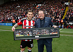 Billy Sharp of Sheffield Utd receives a memory of his 200th goal before kick off from Keith Edwards during the English League One match at  Bramall Lane Stadium, Sheffield. Picture date: April 30th 2017. Pic credit should read: Simon Bellis/Sportimage
