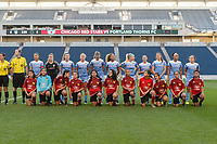 Bridgeview, IL - Saturday August 12, 2017: Chicago Red Stars Starting XI, player escorts during a regular season National Women's Soccer League (NWSL) match between the Chicago Red Stars and the Portland Thorns FC at Toyota Park. Portland won 3-2.