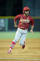 Edmundo Sosa (19) of the Johnson City Cardinals hustles towards third base against the Burlington Royals at Burlington Athletic Park on August 22, 2015 in Burlington, North Carolina.  The Cardinals defeated the Royals 9-3. (Brian Westerholt/Four Seam Images)