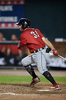 Erie SeaWolves designated hitter Will Maddox (31) follows through on a swing during a game against the Harrisburg Senators on August 29, 2018 at FNB Field in Harrisburg, Pennsylvania.  Harrisburg defeated Erie 5-4.  (Mike Janes/Four Seam Images)