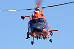 "A United States Coast Guard HH-65C Dolphin patrols San Francisco Bay during 2007 San Francisco Fleet Week activities. The mission of the Aerospatiale built HH-65 ""Dolphin"" helicopter is to perform search and rescue, enforce laws and treaties, drug interdiction, polar ice breaking, marine environmental protection, and pollution control. Though the HH-65A is normally stationed ashore it is capable of landing and taking off from the 210-foot WMEC, 270-foot WMEC, and 378-foot WHEC Coast Guard Cutters. These cutters are capable of refueling and supporting the helicopter for the duration of a cutter patrol."