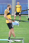 Getafe's Vitorino Antunes (r) and David Timor during training session. May 15,2020.(ALTERPHOTOS/Acero)