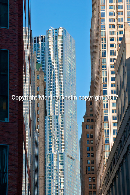 View of Frank Gehry's 8 Spruce Street building in downtown Manhattan