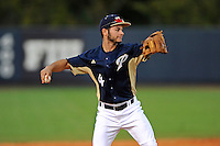 2 March 2012:  FIU infielder/outfielder David Vazquez (4) throws to first as the FIU Golden Panthers defeated the Brown University Bears, 6-5, at University Park Stadium in Miami, Florida.