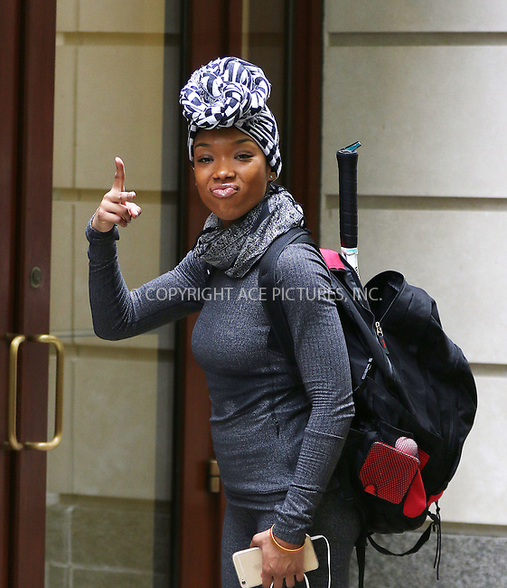 WWW.ACEPIXS.COM<br /> <br /> May 28 2015, New York City<br /> <br /> Singer Brandy Norwood out in midtown Manhattan on May 28 2015 in New York City<br /> <br /> By Line: Zelig Shaul/ACE Pictures<br /> <br /> <br /> ACE Pictures, Inc.<br /> tel: 646 769 0430<br /> Email: info@acepixs.com<br /> www.acepixs.com