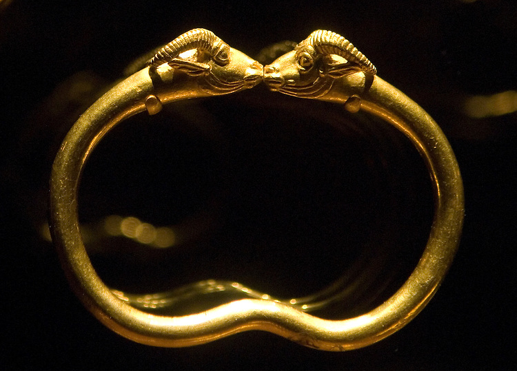 "Bracelets from the 4th-5th century BCE, are on display as part of the ""Wine, Worship and Sacrifice"" exhibit at the Arthur M. Sackler Gallery, Smithsonian Institution."