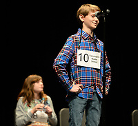 NWA Democrat-Gazette/ANDY SHUPE<br /> Akin Johnson, 10, a fifth-grader at Farmington Middle School, smiles Saturday, Jan. 12, 2019, after being announced as the winner of the Washington County Spelling Bee at the Farmington Performing Arts Center. His winning word was 'ocarina.'