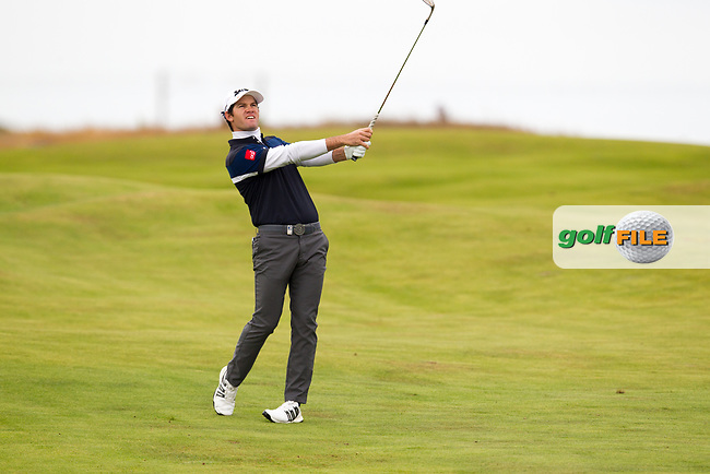 Ricardo Gouveia (POR) on the 18th during round 2 of the Aberdeen Asset Management Scottish Open 2017, Dundonald Links, Troon, Ayrshire, Scotland. 14/07/2017.<br /> Picture Fran Caffrey / Golffile.ie<br /> <br /> All photo usage must carry mandatory copyright credit (&copy; Golffile | Fran Caffrey)