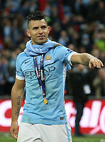 Sergio Aguero of Manchester City after the Capital One Cup match between Liverpool and Manchester City at Wembley Stadium, London, England on 28 February 2016. Photo by David Horn / PRiME Media Images.