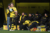 18th March 2018, Dortmund, Germany;  Football Bundesliga, Borussia Dortmund versus Hannover 96 at the Signal Iduna Park. Dortmund coach Peter Stoeger speaks with Andre Schuerrle as he takes a throw-in