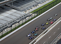 May 26, 2017; Indianapolis, IN, USA; Indy Lights Series driver Matheus Leist leads the field to the green flag during the Freedom 100 at Indianapolis Motor Speedway. Mandatory Credit: Mark J. Rebilas-USA TODAY Sports