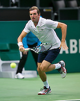 11-02-14, Netherlands,Rotterdam,Ahoy, ABNAMROWTT,  JulienBenneteau (FRA)  in his match against Jerzy Janowicz (POL)<br /> Photo:Tennisimages/Henk Koster