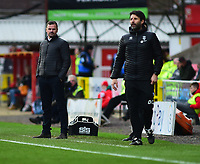 Swindon Town manager Richie Wellens, left, and Lincoln City manager Danny Cowley in their technical areas<br /> <br /> Photographer Andrew Vaughan/CameraSport<br /> <br /> The EFL Sky Bet League Two - Swindon Town v Lincoln City - Saturday 12th January 2019 - County Ground - Swindon<br /> <br /> World Copyright &copy; 2019 CameraSport. All rights reserved. 43 Linden Ave. Countesthorpe. Leicester. England. LE8 5PG - Tel: +44 (0) 116 277 4147 - admin@camerasport.com - www.camerasport.com