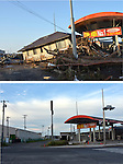 September 9, 2011, Sendai, Japan -Uprooted trees are stuck in front of a filling station next to a washed-away house near Sendai Airport, Miyagi prefecture, 435km northeast of Tokyo, on March 14, 2011, top. The airport, located along the Pacific coast, was flooded by a 10-meter tsunami following a powerful earthquake with a magnitude of 9.0 that jolted northeastern Japanese cities on March 11. The roads around the gas station are clear of debris on Thursday, September 8. Japan marks sixth months anniversary on September 11 of an earthquake and tsunami that have ravaged 130 kilometers along the Pacific coast in the country's northeastern region, leaving nearly 20,000 dead or missing. Six months after the nation's worst ever disaster. which also sparked a nuclear crisis, still more than 20,000 people are forced to dwell in temporary shelters and housings throughout the area. (Photo by Natsuki Sakai/AFLO) [3615] -mis-