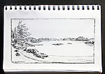 Barkley Sound, Vancouver Island, Hand Island, Journal Art 2010, charcoal on paper,, Joel Rogers,