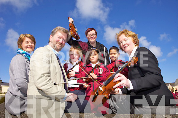 To celebrate the success of the Colour-My-Stings pilot project in Moyderwell primary school the Senior Infants will hold their debut concert on Friday, 26th April at 7pm in the school assembly hall. Pictured were teachers Máire Jones and Lucy Tanner with Aidan O'Carroll from the Kerry School of Music with Anna Landy, Natalie Naing and Shay Kelliher.