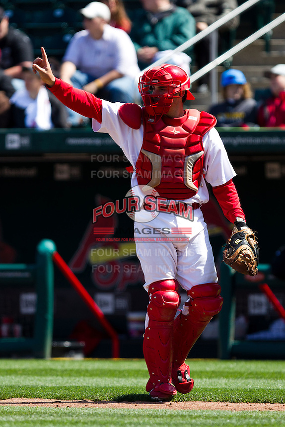 Charlie Cutler (37) of the Springfield Cardinals on defense during a game against the Springfield Cardinals on April 16, 2011 at Hammons Field in Springfield, Missouri.  Photo By David Welker/Four Seam Images.