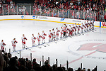 The Wisconsin Badgers hockey team lines up during the National Anthem prior an NCAA tournament game against the Minnesota Duluth Bulldogs at the Kohl Center in Madison, Wisconsin on March 12, 2011. Wisconsin won 2-1. (Photo by David Stluka)