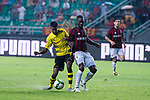 Borussia Dortmund Forward Alexander Isak (L) fights for the ball with AC Milan Defender Cristian Zapata (R) during the International Champions Cup 2017 match between AC Milan vs Borussia Dortmund at University Town Sports Centre Stadium on July 18, 2017 in Guangzhou, China. Photo by Marcio Rodrigo Machado / Power Sport Images