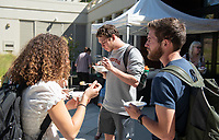 Occidental College's National and International Fellowships Office hosts a Fulbright Ice Cream Social to celebrate their student Fulbright submissions. Oct. 11, 2019 at the Hameetman Career Center patio.<br /> (Photo by Marc Campos, Occidental College Photographer)