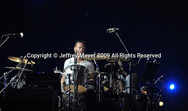 PASADENA, CA. - October 25: Drummer Larry Mullen, Jr. performs in concert during their 360º Tour at the Rose Bowl on October 25, 2009 in Pasadena, California.