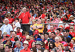 Where's Wally?..A Clare fan in the mainly Cork crowd  before their Munster  hurling final against Cork at Thurles. Photograph by John Kelly.