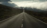 Road in the mist.Parque nacional de las Cañadas,Tenerife, Canary Islands, Spain