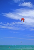 A kite surfer practices his skill on Lake Michigan off of Illinois Beach State Park in Lake County, Illinois