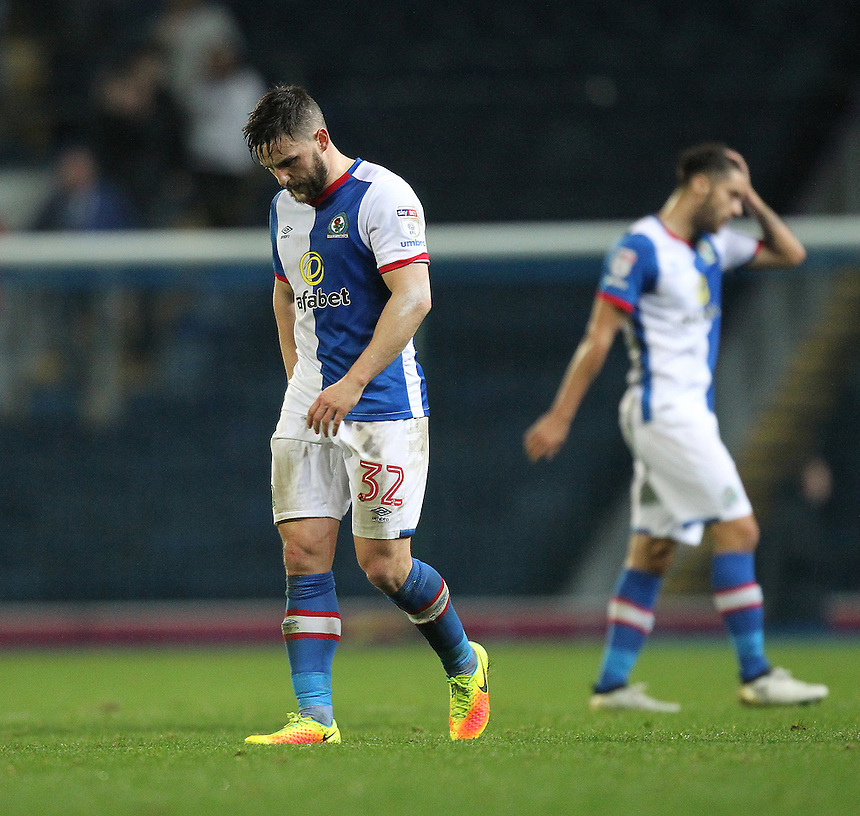 Blackburn Rovers players look dejected as the game ends<br /> <br /> Photographer Mick Walker/CameraSport<br /> <br /> The EFL Sky Bet Championship - Blackburn Rovers v Wolverhampton Wanderers - Saturday 29th October 2016 - Ewood Park - Blackburn<br /> <br /> World Copyright &copy; 2016 CameraSport. All rights reserved. 43 Linden Ave. Countesthorpe. Leicester. England. LE8 5PG - Tel: +44 (0) 116 277 4147 - admin@camerasport.com - www.camerasport.com