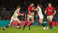 Wales' Aaron Shingler is tackled by Englands' George Ford<br /> <br /> Photographer Bob Bradford/CameraSport<br /> <br /> NatWest Six Nations Championship - England v Wales - Saturday 10th February 2018 - Twickenham Stadium - London<br /> <br /> World Copyright &copy; 2018 CameraSport. All rights reserved. 43 Linden Ave. Countesthorpe. Leicester. England. LE8 5PG - Tel: +44 (0) 116 277 4147 - admin@camerasport.com - www.camerasport.com