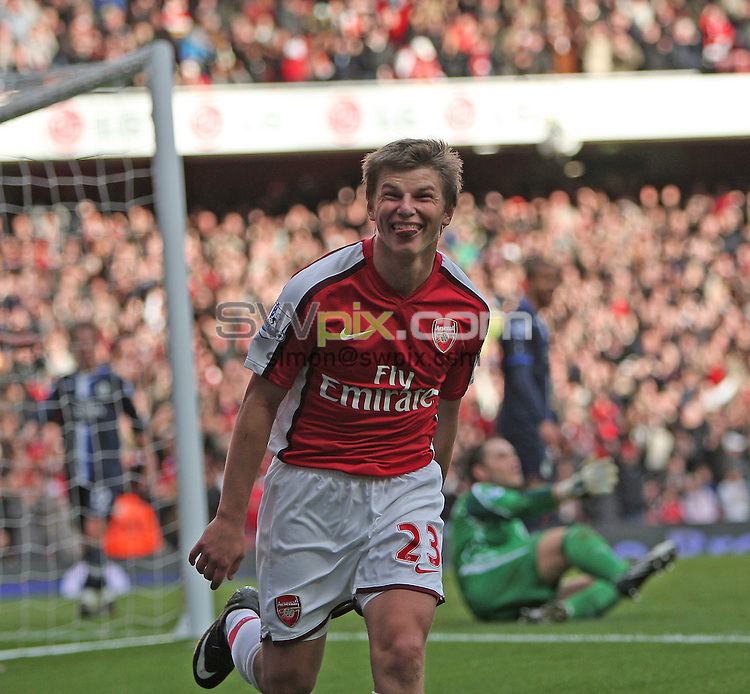 PICTURE BY JEREMY RATA/SWPIX.COM. Barclays Premier League 2008/9 - Arsenal v Blackburn Rovers, Emirates Stadium, London, England. 14th March 2009. Arsenal's Andrey Arshavin celebrates scoring his second goal..Copyright - Simon Wilkinson - 07811267706