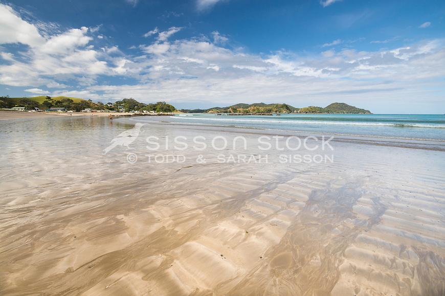 Oakura Bay in Northland, New Zealand, Beach in summer - stock photo, canvas, fine art print