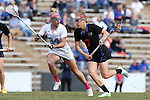 20 February 2016: Florida's Shayna Pirreca (7) and North Carolina's Stephanie Lobb (34). The University of North Carolina Tar Heels hosted the University of Florida Gators in a 2016 NCAA Division I Women's Lacrosse match. Florida won the game 16-15.