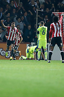 GOAL - Ollie Watkins of Brentford makes it 1-1 during the Sky Bet Championship match between Brentford and Derby County at Griffin Park, London, England on 26 September 2017. Photo by Carlton Myrie / PRiME Media Images.
